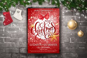 Christmas Party Flyer with Lettering