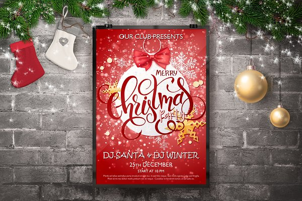 Christmas Party Flyer with Letterin…