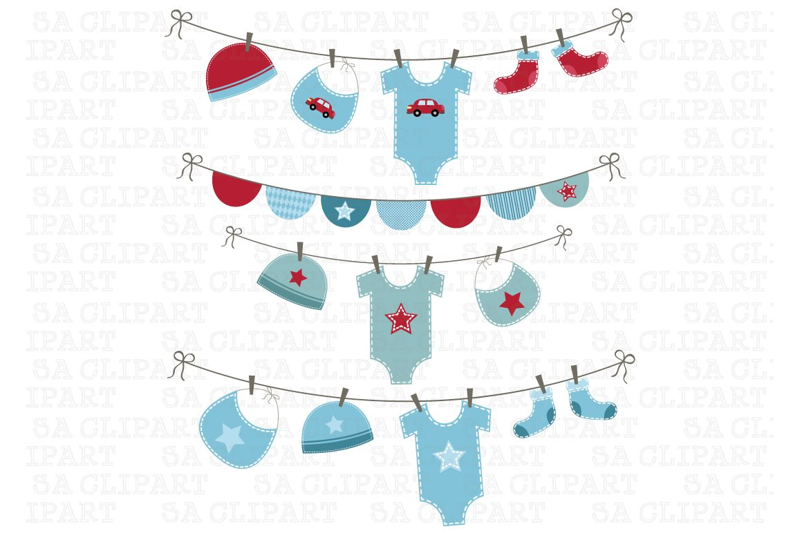 Baby Boy Shower Clipart Illustrations Creative Market