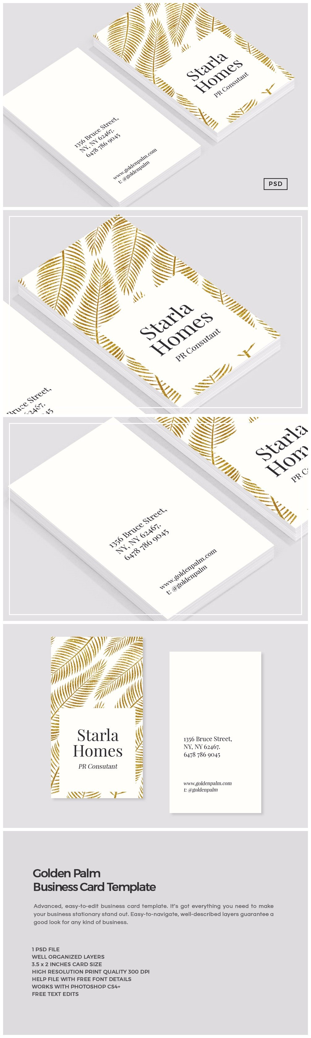 golden palm business card template business card templates
