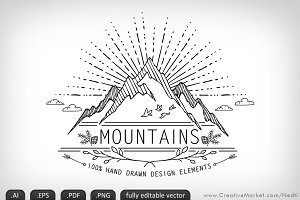 Mountains Handdrawn Doodle Vector