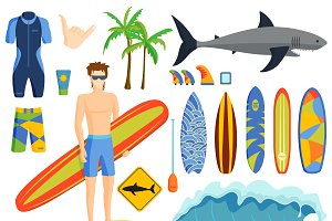 Surfing graphics emblems vector