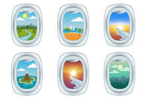 Group of airplane windows vector
