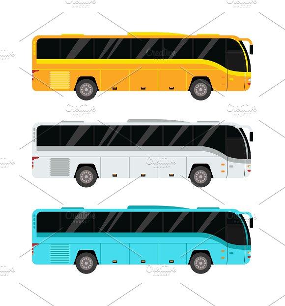 City public bus vector set