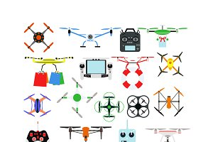 Aerial drone quadrocopters icons