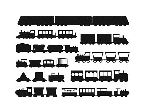 Vector black silhouette of trains