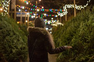 Girl picking christmas tree