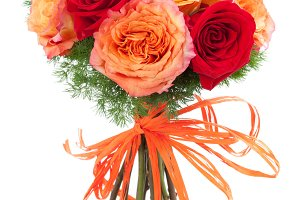 Warm colors roses bouquet
