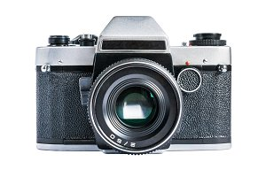 Retro camera isolated on white