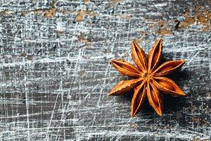 Star Anise on vintage texture