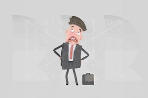 3d illustration. Envy businessman.
