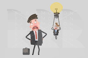 3d illustration. Loser businessman.