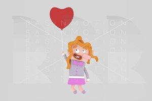 3d illustration. Girl flying.