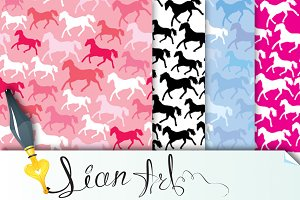 4 seamless patterns with wild horses