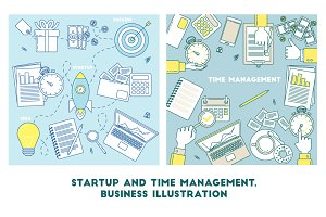 Business set of vector illustrtaion