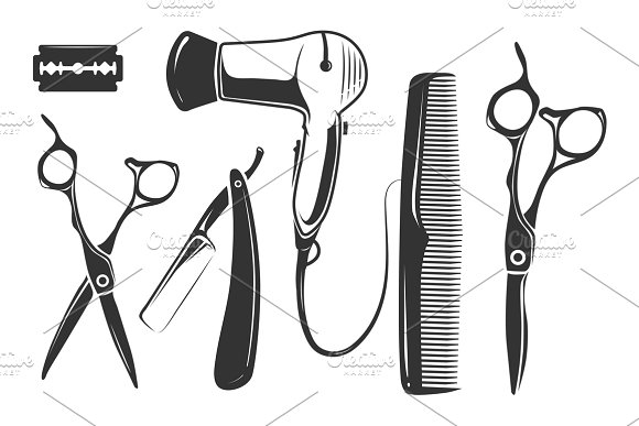 Barber shop vector elements for logo