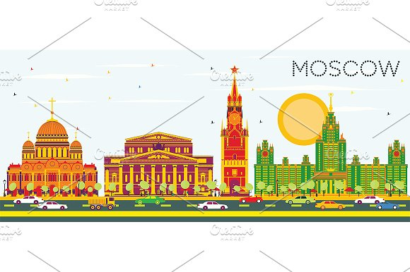 Moscow Skyline with Color Buildings