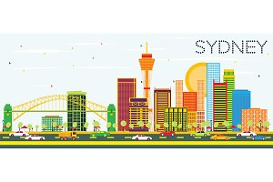 Sydney Skyline with Color Buildings