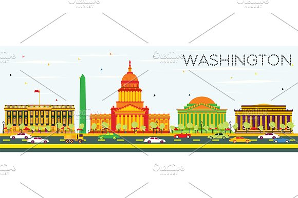 Washington DC Skyline in Illustrations