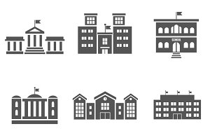 School building vector icons