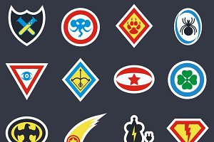 Superhero color vector badges