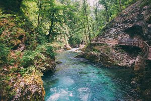 Mountain blue river