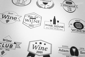 Wine Vineyard Badges Logos