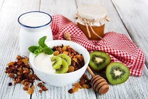 Granola cereal with nuts and yogurt