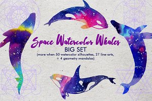 Space Watercolor Whales