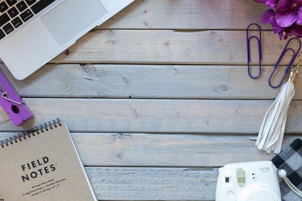 Purple Desktop Styled Stock Photo
