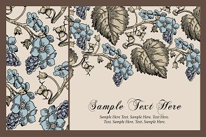 Set Flowers Grapes Card Frame