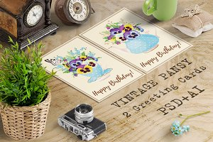 Greeting Cards with Pansies