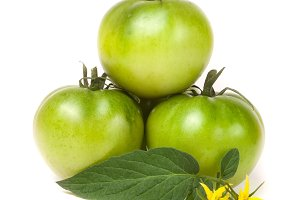 three green unripe tomato with a flower and leaf isolated on white background