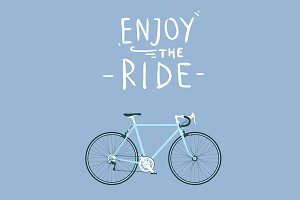Road bike with enjoy the ride title