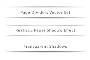 Page dividers. Paper shadows effect.