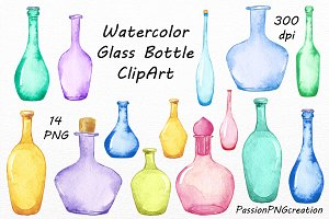 Watercolor Glass Bottles Clipart