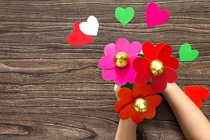 gift bouquet of flowers heart made