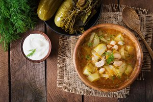 Soup with cucumbers and beans