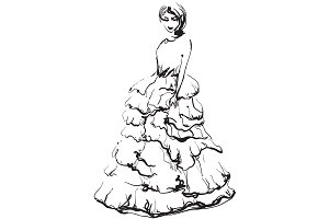 Girl in dress illustration