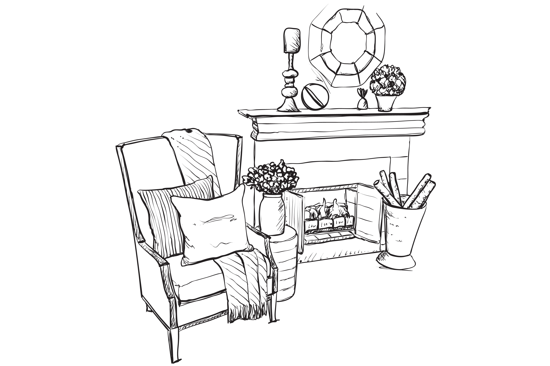 Fireplace sketch. Interior ~ Illustrations ~ Creative Market