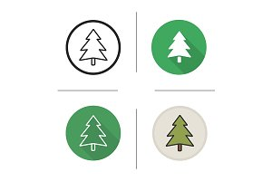 New Year tree. 4 icons. Vector