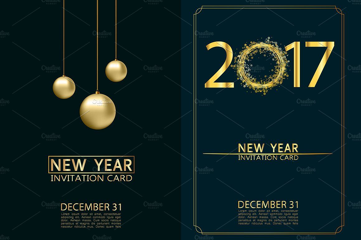 new year invitation cards vector illustrations creative market