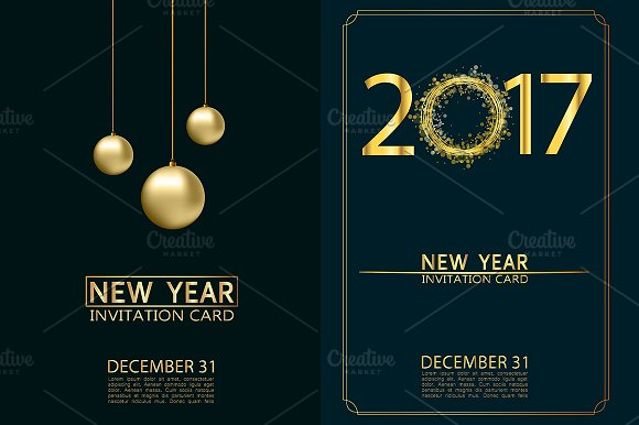new year invitation cards vector illustrations