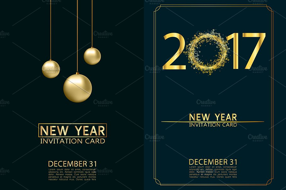 New Year Invitation Cards Vector