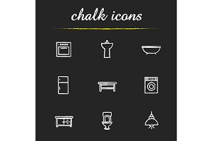 Kitchen and bathroom icons. Vector