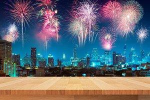 wood shelf and fireworks