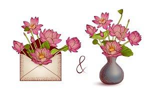 Lotus. Envelope and vase