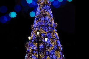Christmas tree at night. Spain