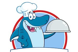 Chef Shark Over A Ribbon Banner