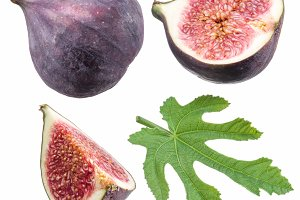 Ripe fig fruits and leaf.